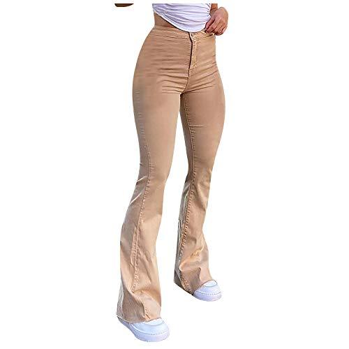BIBOKAOKE Schlaghose Damen High Waist Jeanshosen Stil Retro Streetwear Casual Slim Fit Workwear Bootcut Jeans Button Jeans Harajuku Aesthetic Pants Flare-Hose