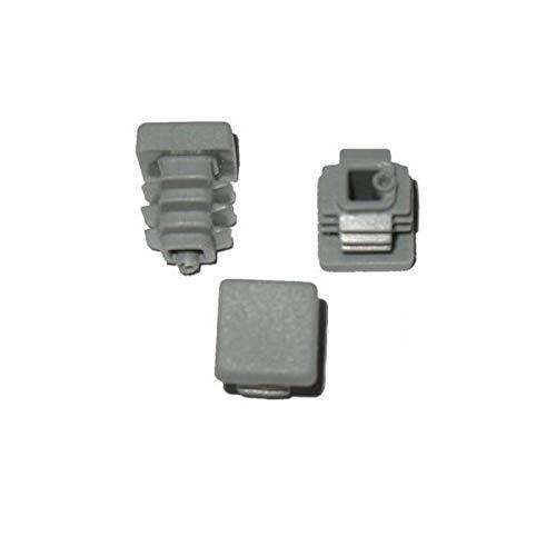 Lot de 10 bouchons à lamelles carrés - 10 x 10 mm - Gris