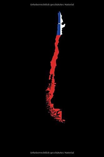 Notizbuch: Republik Chile Südamerika Karte Chilenische Flagge Notizbuch DIN A5 120 Seiten für Notizen, Zeichnungen, Formeln | Organizer Schreibheft Planer Tagebuch