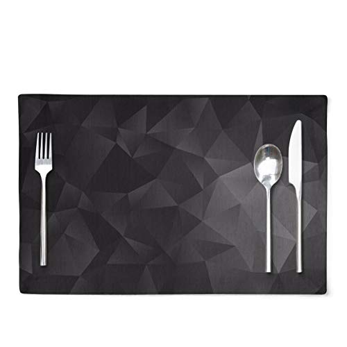 Dark-Gray Placemats Dark Silver Gray Low Poly A Sample with Polygonal Shapes The Can Be Used Set of 4 Table Placemats 12X18 Inch Placemats for Kitchen Dining Table D¨¦cor for Kitchen Dining Room