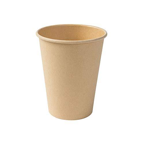 BIOZOYG Kompostierbare Bio Einweg Becher I Einmalbecher Getränkebecher Wegwerfbecher Papierbecher mit PLA Beschichtung I 50 Stück Coffee to go Pappbecher braun ungebleicht 300 ml 12 oz