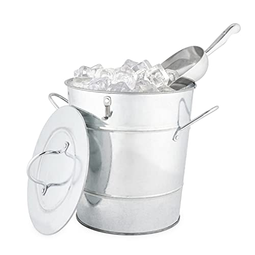 True Fabrications Twine Galvanized Steel Ice Bucket with Removable Lid and Ice Scoop