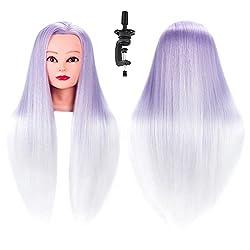"HAIREALM 26"" Mannequin Head Hair Styling Training Head Manikin Cosmetology Doll Head Synthetic Fiber Hair SQ2CH3P"
