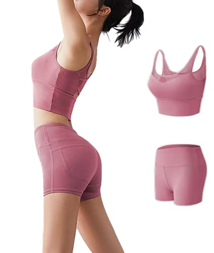 Chandal Mujer Completo Verano Conjuntos Deportivos para Mujer Conjuntos 2 Pieces Set Camiseta y Pantalones Cortos Traje Deportivo de Manga Corta