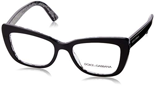 Dolce&Gabbana DG3308 Eyeglass Frames 3203-51 - Black On Leo DG3308-3203-51