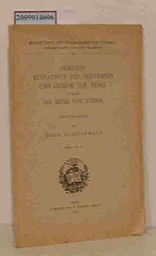 Origines Eustathius von Antiochien und Gregor von Nyssa über die Hexe von Endor.