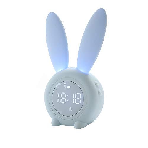 Lapin mignon Réveils lumineux pour enfants lampe de chevet créative Veilleuse silencieuse, fonction Snooze, 6 sons forts, veilleuse minutée, déal pour les enfants, filles, bébé,amis (BLEU)
