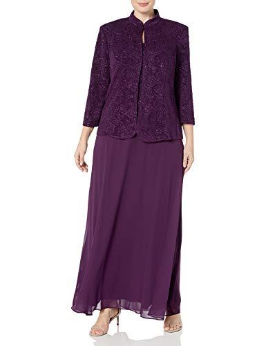 Alex Evenings Women's Plus Size Jacquard Knit Long Dress and Mandarin Jacket, Eggplant, 20W
