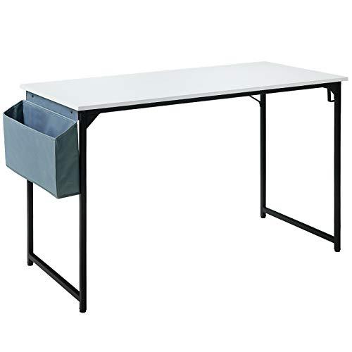 YMYNY 120cm Escritorio, Mesa de Ordenador, Mesa de Oficina, Mesa Multifuncional en la Oficina en Casa, Sala de Estar, Estudio, Estructura Metálica, Montaje Fácil, Blanco HTMJ31MW