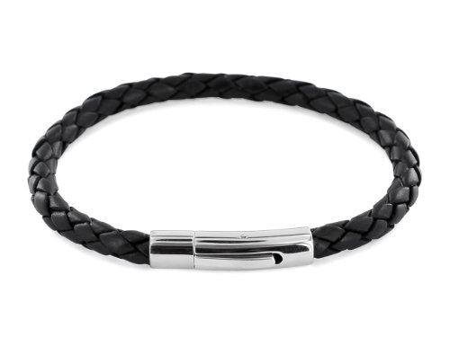 AURORIS Echtleder-Armband geflochten 5mm mit Hebeldruckverschluss aus Edelstahl - Länge: 23cm / Farbe: schwarz