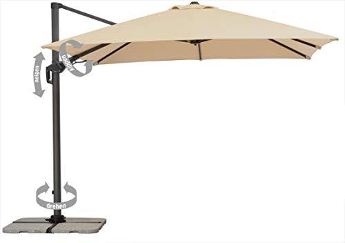 Schneider Schirme Sonnenschirm Rhodos Twist 730-02, Natur, 300 x 300 cm, Quadratisch
