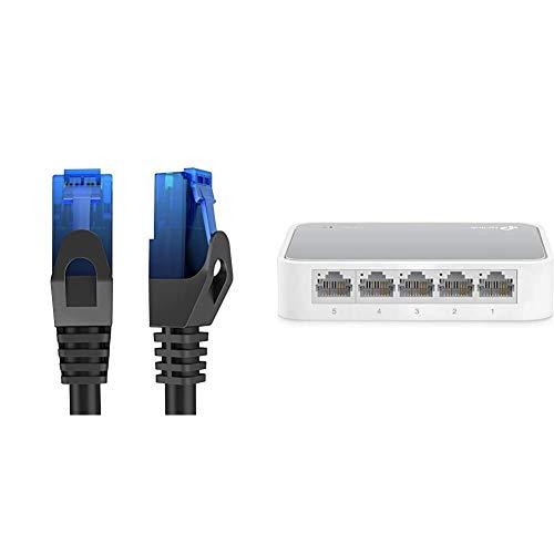 KabelDirekt - 20m - Cavo di rete, Ethernet e cavo Lan - (trasmette fino a 1 Gigabit & TP-Link TL-SF1005D Switch Desktop, 5 Porte RJ45 10/100 Mbps, Plu