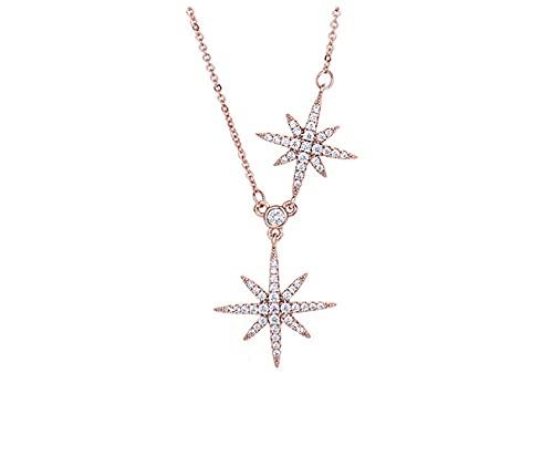 Wisofn Collar de moda para mujer cadena de clavícula de estrella de seis puntas joyería de regalo para festival para mujer