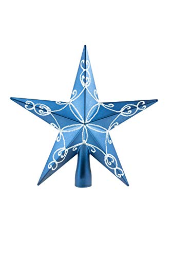 Clever Creations Blue Star Christmas Tree Topper - Festive Christmas Decor - Sparkling Shatter Resistant Plastic - 8 inch Tall - Perfect for Any Size Christmas Tree…