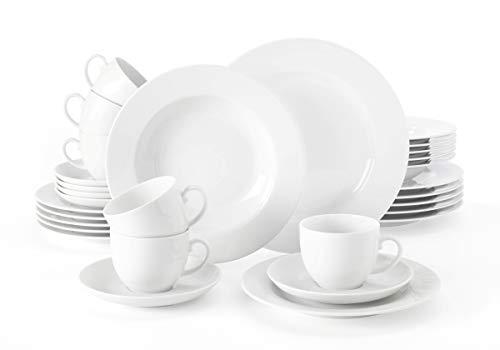 Seltmann Weiden Kombiservice 30-teilig weiß | Set für bis zu 6 Personen | Serie Rondo | beinhaltet je 6 Speiseteller, Suppenteller, Frühstücksteller, Kaffeeober- und Untertassen