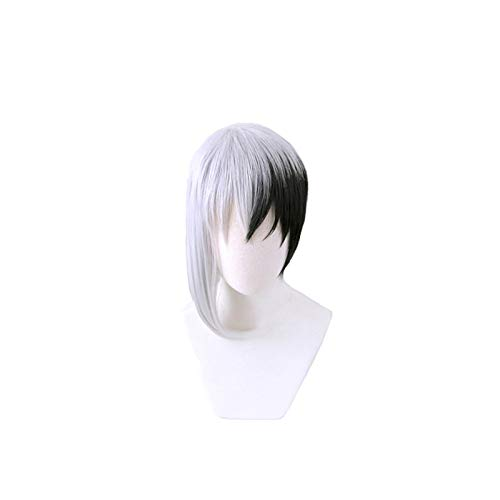 Anime Dr.stone Cosplay Asagiri Gen Negro Blanco Peluca de disfraz Fibra resistente al calor Peluca de pelo sinttico para hombres