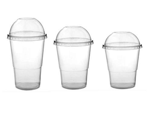 Nicoletti 100 Bicchieri in PLASTICA con Coperchio A Cupola e Foro Ideali per Drink BIBITE Frappe Granite (400ml)