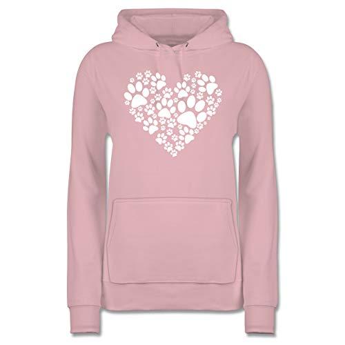 Statement - Pfoten Herz - XL - Hellrosa - Shirt Pfote Damen - JH001F - Damen Hoodie und Kapuzenpullover für Frauen