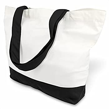 TOPDesign 1 | 3 | 6 | 12 | 24 Pack Super Strong Large 12oz Cotton Canvas Tote Bag Reusable Grocery Shopping Cloth Bags Fashionable Two-Tone Bags for Crafts DIY Your Creative Designs  Pack of 1