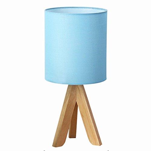 lampe de table bureau bois rond trépied lampe d'étude lecture en bois simple salon chambre à coucher restaurant bois café bar tissu A+ (Color : Blue)