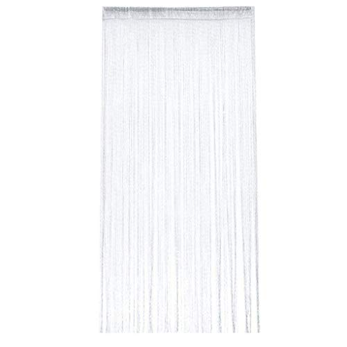 SEVENHOPE Fadenvorhang im Tautropfen Design Fadenvorhang Fadenstore Raumteiler Fliegenschutz oder als Festliche saisonale Dekoration 95cm x 200cm (weiß)