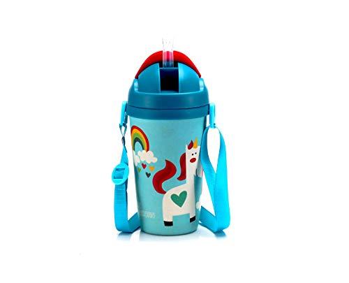 Botella infantil de fibra de bambú de 350 ml con pajita de material biodegradable, sin BPA, diseño de unicornio