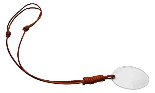Gafa de lectura WIKIEYE Collar con Lupa, Graduación +3,00. Cordón de cuero con lente para vista cansada para llevar en el cuello. Accesorio de moda.
