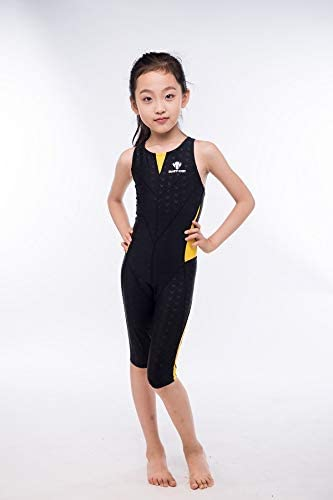 YIXING Girl's Summer Push Up One Piece Swimsuit Professional Water Sport Swimwear Kids Patchwork Racing Competitive Bathing Beach Suit (Color : Brown, Size : L(30 35kg))