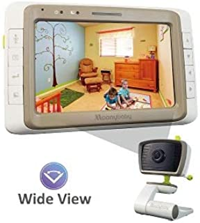 Baby Monitor Camera, Wide View, Split Screen, 5 Inches Large Screen by Moonybaby, Night Vision, Digital Camera, Room Temperature, Long Range, 2 Way Talk Back, Power Saving, High Capacity Battery