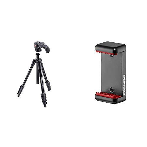 Manfrotto Compact Action Stativ schwarz &  MCLAMP  Smartphone Halterung schwarz