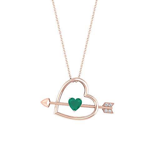 Colgante de corazón con flecha, piedras preciosas de 0,78 quilates, diamante HI-SI 6 mm, ónix verde, colgante de amor, collar solitario de oro, 10K Oro rosa Con cadena