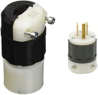 Leviton 5269-C 15 Amp, 125 Volt, Connector, Straight Blade, Industrial Grade, Grounding, Black-White AND Industrial Grade, Plug, Straight Blade, Grounding, Black-White, 1 Pack,