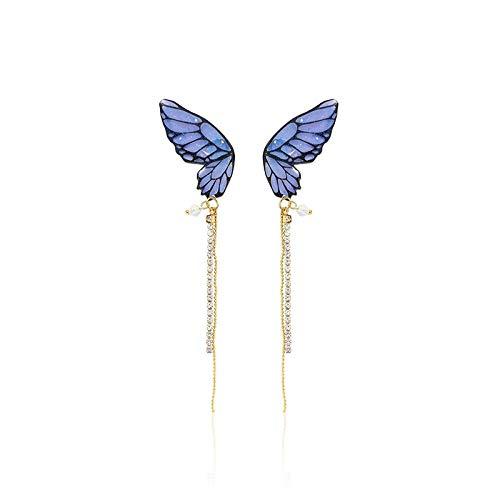 Earrings Women Studs Fashion Fine Blue Butterfly Modelling Sweet Women Earrings Joker Long Tassels Shiny Crystal Drop Earrings