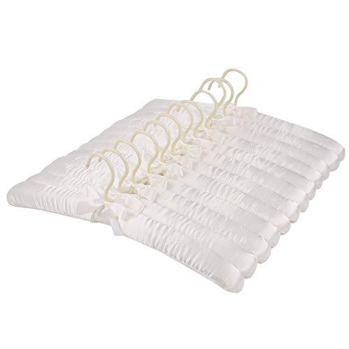 Tosnail Satin Padded Hangers Foam Padded Hangers Dress Hangers - Ivory 12 Pack