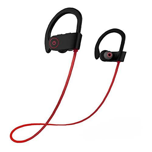 Tuimiyisou Auriculares Wireless Auriculares Neckband Impermeable de Banda para el Cuello Auriculares Estéreo Deporte en Ear Headset Rojo Totalmente Adaptado