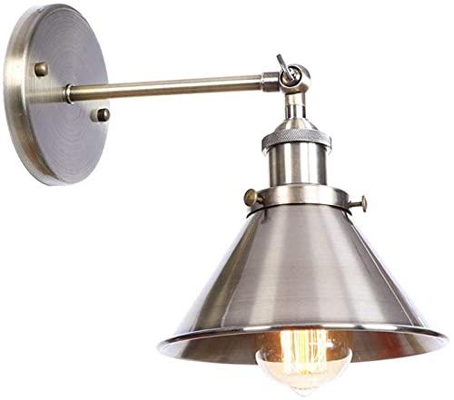 BVYHGCVBW Lámpara de Pared Retro Vintage Luz de Pared Industrial Interior Pantalla de tazón Aplique de Pared Accesorios de iluminación Enchufe E27 Brazo oscilante Ajustable Pantalla de Metal Vintage