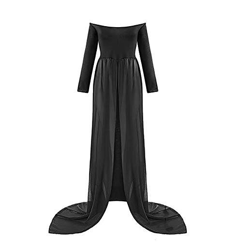 TrivingTech Sexy Schwangerschafts Kleid, Chiffon Fotografie Rock, Mutterschaft Foto Shoot Kleidung (Long Sleeve Schwarz)