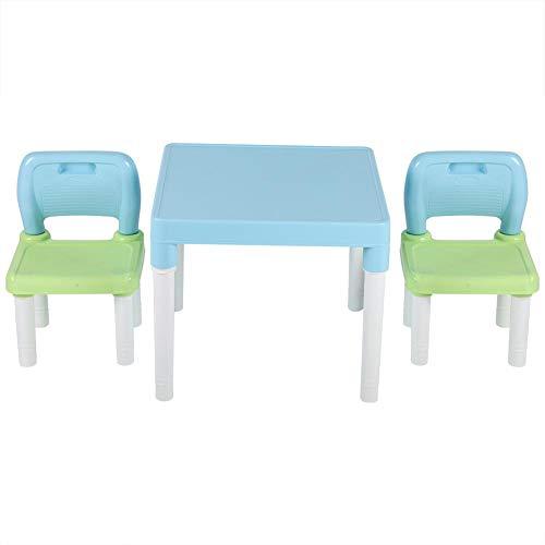 EBTOOLS Kindersitzgruppe Sitzgruppe für Kinder Kindertisch mit 2 Stühle Studium Schreibtisch Kindermöbel Set für zu Hause Kindergarten, Sicherer Kunststoff, Einfach zusammenzubauen(Blaues Grün)
