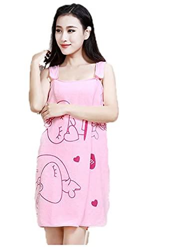 MYKOMI Womens Bath Towels Girls Wearable - Microfiber Bathrobe Lovely Adult Sling Home Bath Skirt Pajamas (Light Pink)