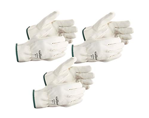 SAFEGEAR 3-pk. Cowhide Leather Work Gloves with Keystone Thumb - Large Driver Safety Gloves for Men or Women - for Truck Driving, Construction, Welding, Gardening & More - J. J. Keller & Associates