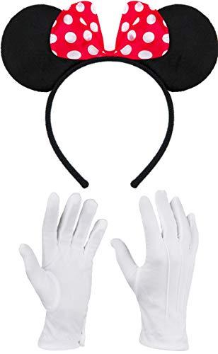 Balinco Haarreifen in schwarz mit Maus Ohren Mouse mit Schleife in rot mit weißen Punkten inklusive weiße Handschuhe für Kinder & Erwachsene