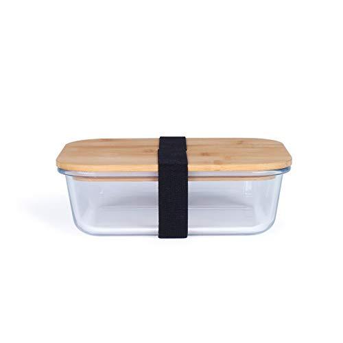 Fiambrera de cristal con tapa, apta para microondas, fiambrera de 630 ml, con tapa de bambú, hermética, de vidrio de borosilicato