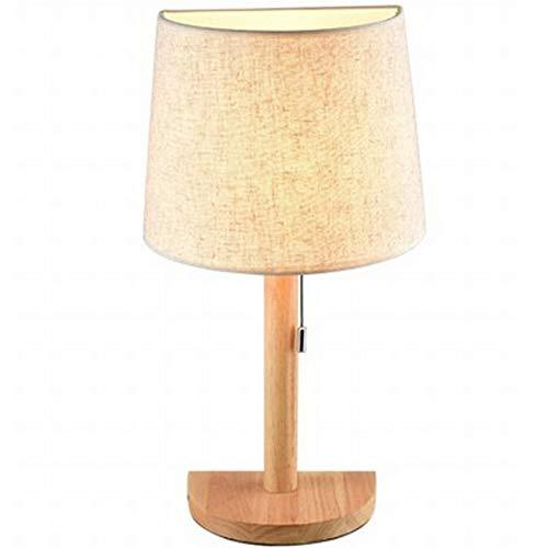 Yjdr Moderno y sencillo Dormitorio de madera Lámparas de noche Decoración Nordic Solid Wood Crafts Sala de estudio LED Lámpara de mesa de regalo, fuente de luz de tornillo E27, 480 * 220mm