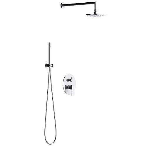 Mai & Mai Wassersparende Regendusche Wellness-Duschsystem mit rundem Duschkopf (Ø 20cm) Dusch-Set mit Handbrause & Einhebelmischer in zeitloser Optik
