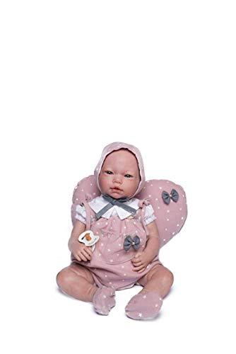 Muñecas Guca- MUÑECA Reborn Violeta 46 CM Vestido Estrellas Rosa con Capota Y Zapatos MAS COJÍN CORAZÓN, Multicolor (18041)