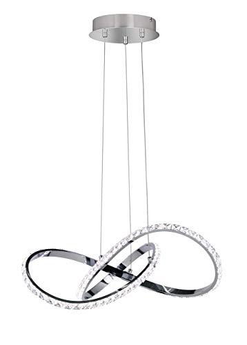 WOFI Pendelleuchte, Metall, Integriert, 17 W, Chrom, 55 x 55 x 1200 cm