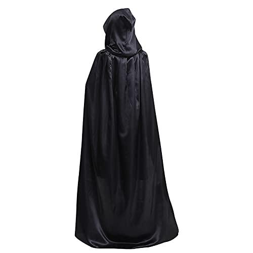 Unisex Adulto Halloween Cloak Grim Reaper Death Death Diablo Hood Capucha Capa Capa Negra Death Prosty Traje Ropa Prop