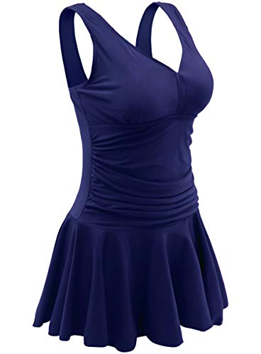 AONTUS Womens Female Swimming Suit Size 24 One Piece Swim Dres Swimsuit Navy Blue