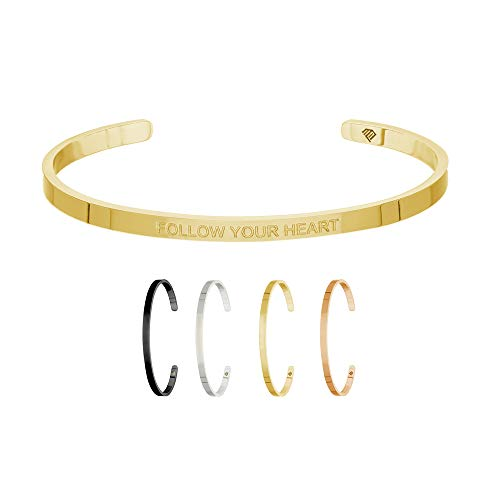 Max Palmer | Armband/Armreif mit Spruch - Gravur Follow Your Heart [04.] - Gold