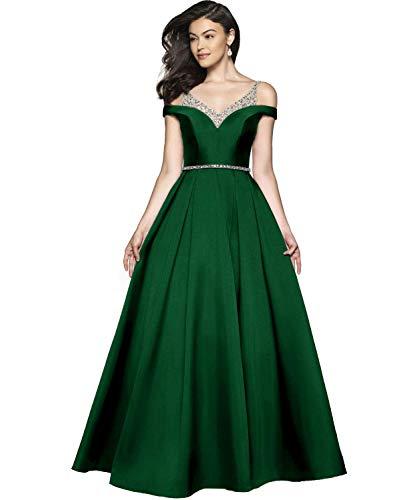 Damen Abendkleider Ballkleid Lang Satin Brautkleid Prinzessin Hochzeitskleid Partykleid A-Linie Festkleid Grün 38